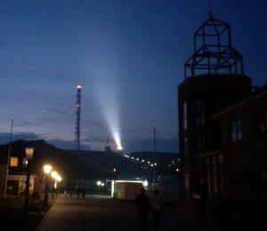 Helgoland Leuchtturm bei Nacht